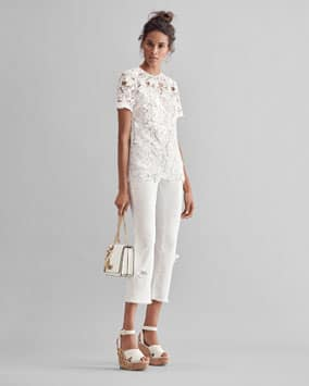 Embroidered Top, Embroidered Jean, Mott Crossbody, Lacey Wedge