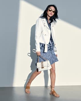 Linen Moto Jacket, Printed Hoodie, Skirt, Cece Shoulder Bag, Marlon Sandal