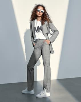 Plaid Blazer, Logo T-Shirt, Trouser, Whitney Shoulder Bag, Mindy Sneaker